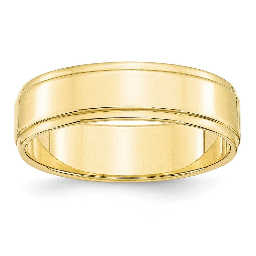 10KY 6mm Flat with Step Edge Band Size 11.5 by JewelrySuperMart Collection