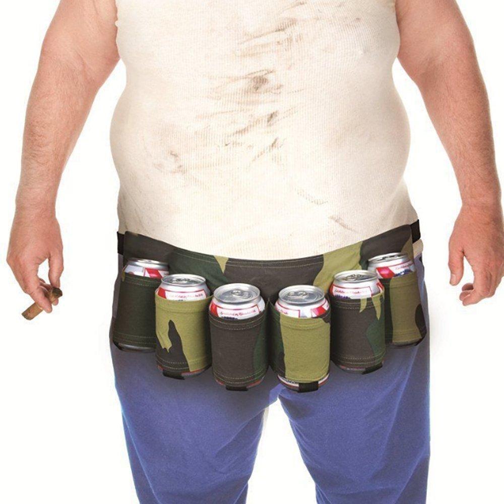 ALERXAN Soporte para cinturón, Militar Camuflaje. Exterior de Banda Cerveza Cerveza & Soda, Puede Cinturón Mantiene 6Camuflaje Verde Belt Outdoor Cubiertos