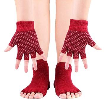Conjunto de Guantes y Calcetines de Yoga de Medio Dedo para ...