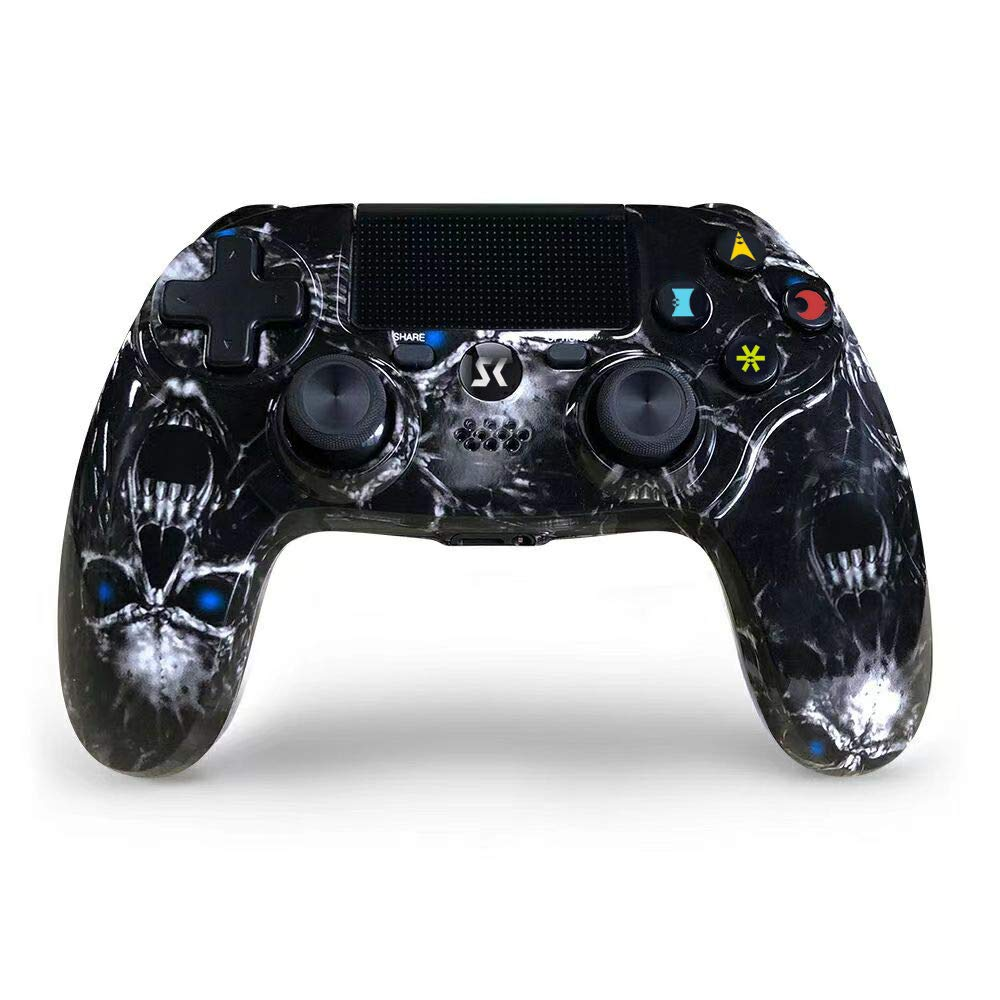 PS4 Controller Wireless, Black Skull Series Double Shock High Performance Gaming Controller for Playstation 4 /Pro/Slim/PC with Audio Function, Mini LED Indicator, USB Cable