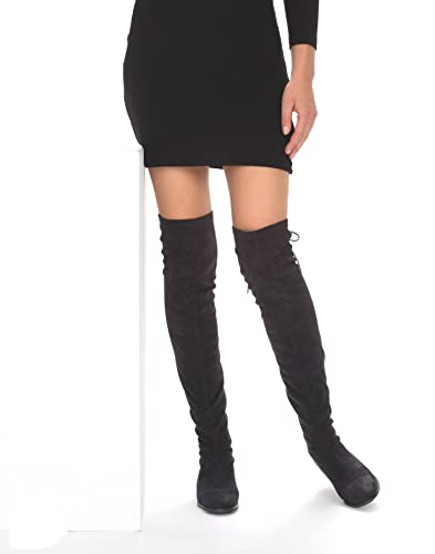 a12bb691d1631 NLY Shoes Women's Flat Thigh High Boot Black Size 7 (41 EU) Synthetic.