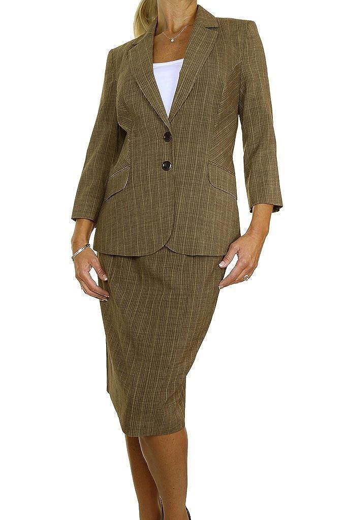 ICE (6420 Smart Business Office Skirt Suit Feint Stripe Brown Mustard