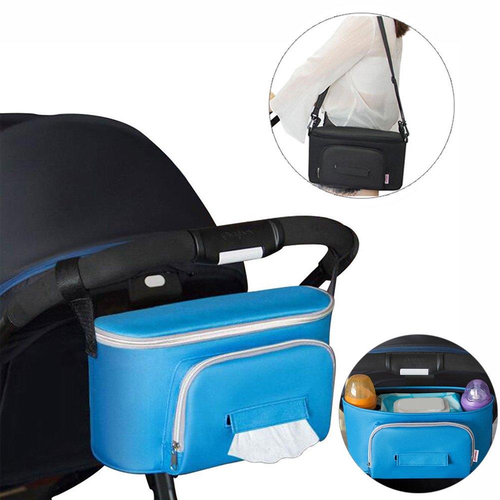 Kinderwagen Organizer, Yuccer Baby Tasche für Kinderwagen Grosse Kapazität Buggy Organizer (Blau)