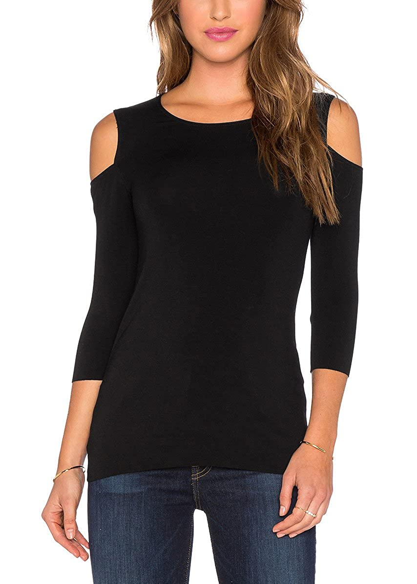 7a546c8d449 Good for going out, casual, Night out, daily wear. Sexy solid Cold Shoulder  Design, casual Shirt With 3/4 Sleeve , stretchy T-shirts blouse for womens