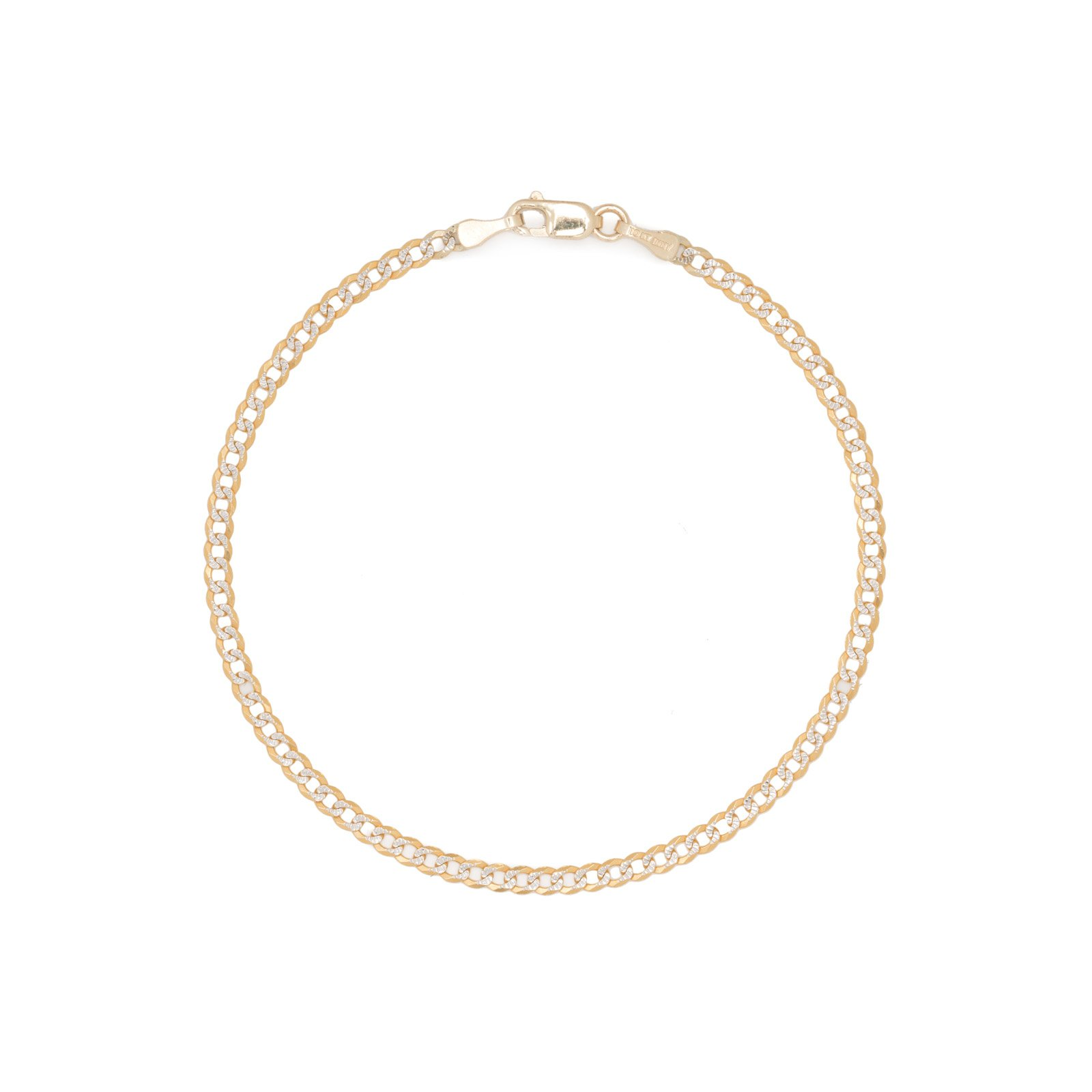 7 inch 10k Two-Tone Gold Curb Cuban Chain Bracelet and Anklet with White Pave, 0.1 Inch (2.5mm)