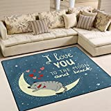 ALAZA I love You to the Moon and Back Quote Cat Kitten Area Rug Rugs for Living Room Bedroom 7' x 5'