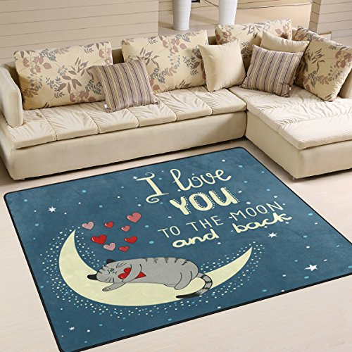 ALAZA I love You to the Moon and Back Quote Cat Kitten Area Rug Rugs for Living Room Bedroom 7' x 5' by ALAZA