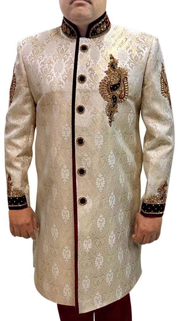 INMONARCH Mens 2 Pc Indowestern Embroidery Work IN556 46S Ivory by INMONARCH