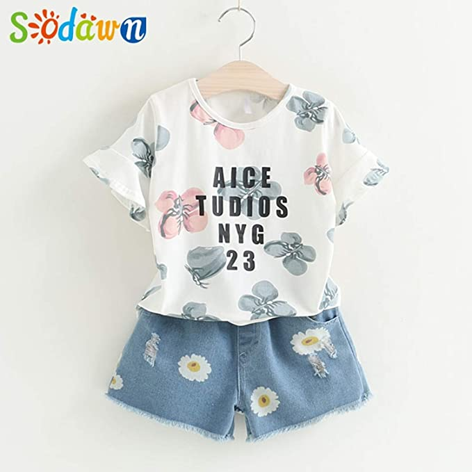 4ca42fa999ef8 Chitop Sodawn Fashion Girls Clothing Set - Summer Baby Girls Clothes -  White Jacket Flower Decoration