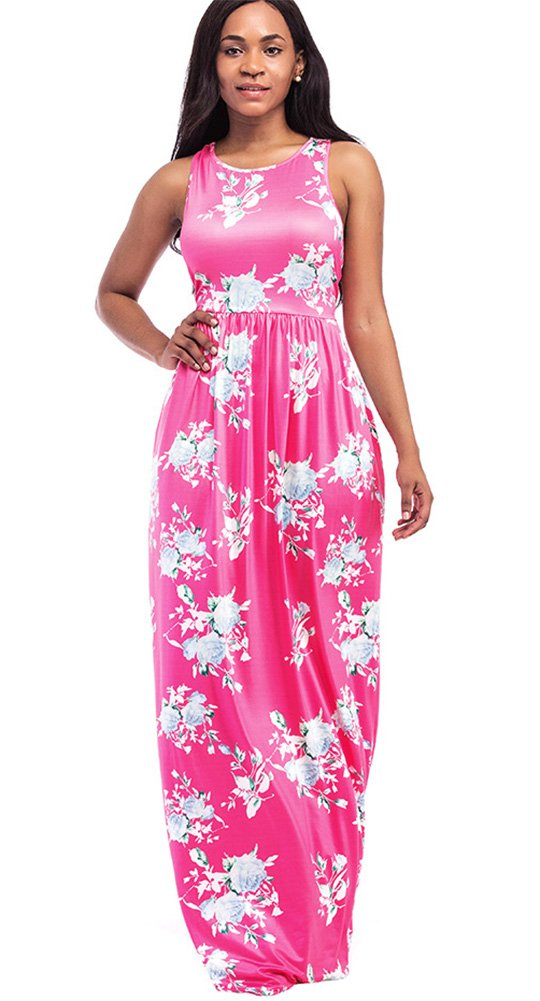 ThusFar Women\'s Floral Maxi Dress Red