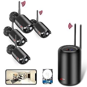 ANRAN 1080P Kit Cámaras de Vigilancia WiFi Exterior 2MP Sistemas de Vigilancia WiFi NVR 4CH 4