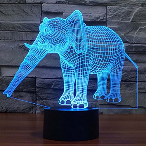 Elephant 3D Illusion Lamp Led Table Kid's Night Light YKL WORLD 7 Color Changing Toys Bed Living Room Desk Decor Christmas Birthday Gifts for Boys Girls