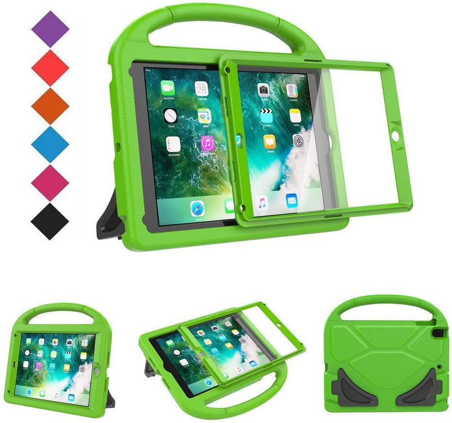 BMOUO Kids Case for New iPad 9.7 2018/2017 - Built-in Screen Protector Shockproof Light Weight Handle Convertible Stand Case Cover for Apple iPad 9.7 Inch 2018 (6th Gen) / 2017 (5th Gen) - Green