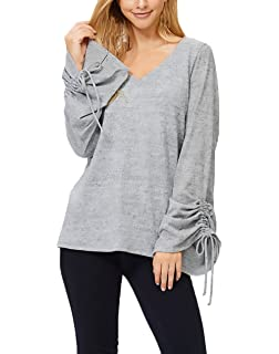 T Shirt Damen Langarm V-Ausschnitt Schnürung Basic Elegant Einfarbig  Unifarben Figurbetont Vintage Young Fashion e886cf58a3