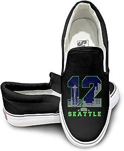 PTCY Seattle12th Seahawk Man Logo Canvas Unisex Flat Canvas Shoes Sneaker Black