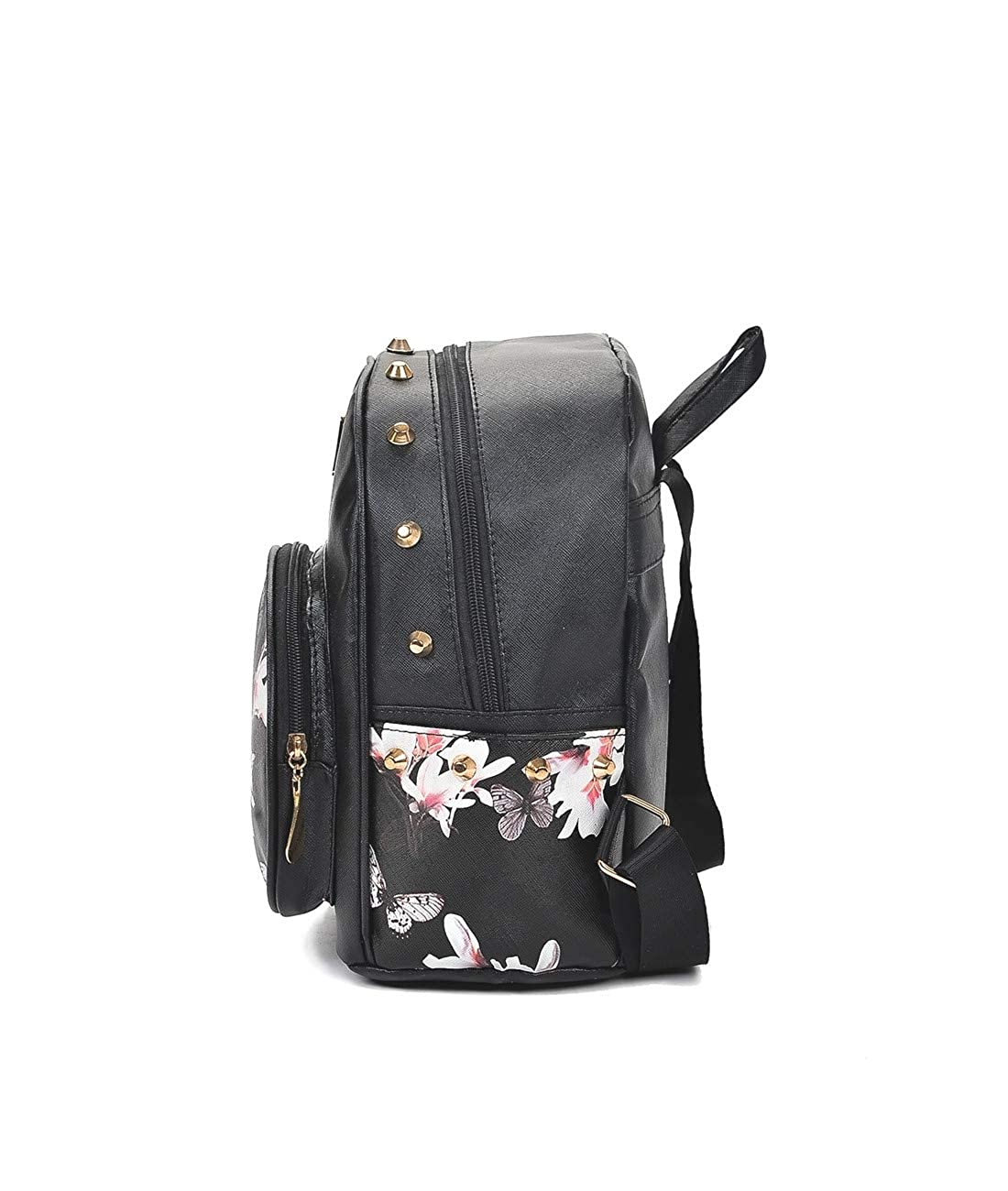 HARLAN Womens Backpack Fashion Flower Print Rivet Decor Mini All Match Daily Bag