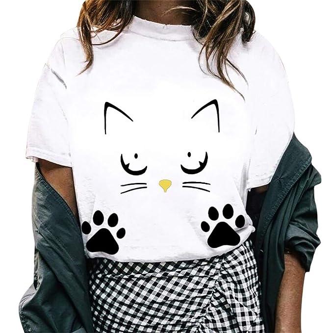 FRAUIT Blusa Casual De Las Mujeres, Camisas del Estampado del Gato del Verano De Las Muchachas Camiseta De Mujeres Blusas De Verano Camiseta Mujeres Tops ...