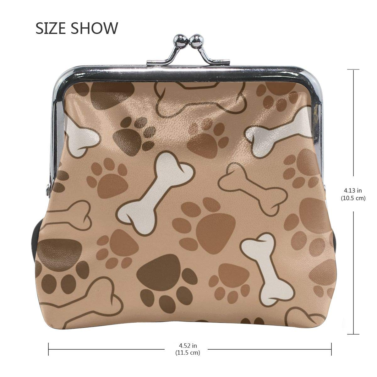 Poream Seamless Dog Pattern Vector Image Personalized Retro Leather Cute Classic Floral Coin Purse Clutch Pouch Wallet For Girls And Womens
