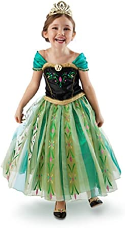 Disney Frozen Movie Anna Coronation Gown Deluxe Girls Costume Dress Fancy New