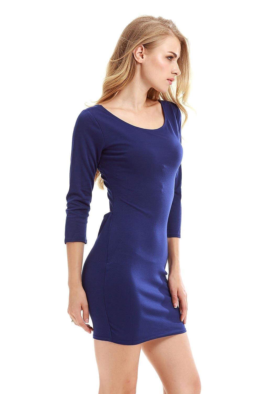 TeeDoc Women Long Sleeve Backless Mini Bodycon Dress
