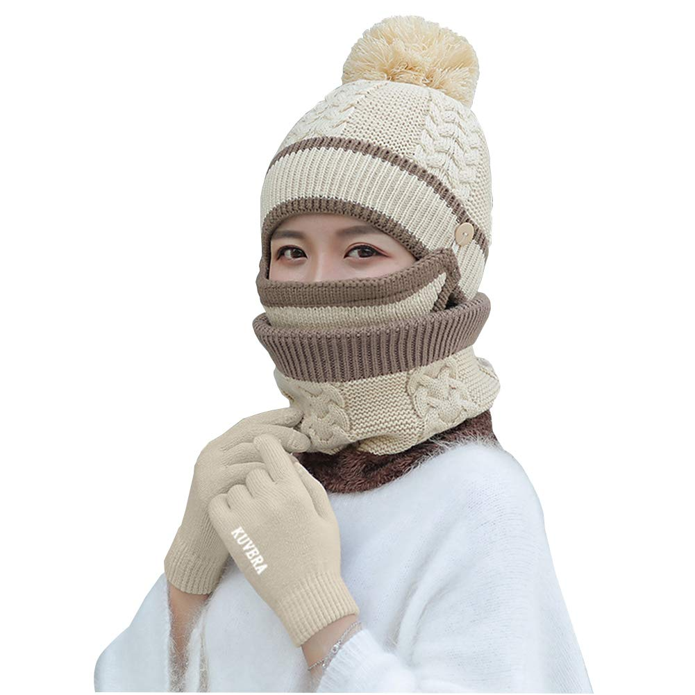 Hat Lady Winter Thick Knit Hat Mask Bib Gloves Four-Piece Suit