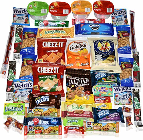 Blue Ribbon Care Package 45 Count Ultimate Sampler Mixed Bars, Cookies, Chips, Candy Snacks Box for Office, Meetings, Schools, Friends & Family, Military, College, Fun Variety Pack (College Care Packages Gift Baskets)