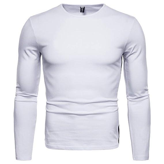 Camiseta de Manga Larga para Hombre con Mangas largas Camiseta básica de Color sólido con Blusa Plisada Top by Internet: Amazon.es: Ropa y accesorios