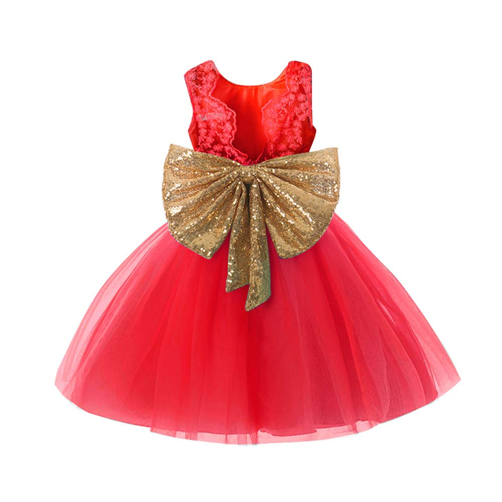 EsTong Baby Girls Sequins Bowknot Floral Princess Dresses Toddler Flower Tulle Grown