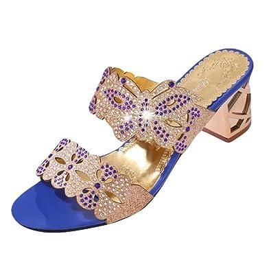 98d24f5462 Sandals Ladies Jamicy Block Heel Slippers Women Rhinestone Open Toe  Bohemian high Heel Shoes (35