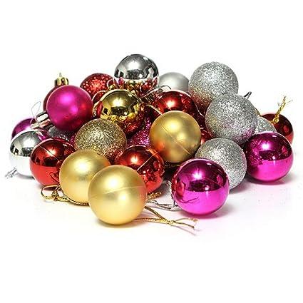 yesido christmas ball shine ball 3cm 24 plastic christmas balls christmas tree decoration balls christmas balls - Plastic Christmas Balls