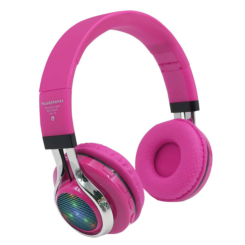 Bluetooth Headphones,TeaBoy LED Light Up Wireless Foldable Stereo Headset Over Ear with Microphone and Volume Control Compatible with PC/iPhone/TV/iPad/Christmas Gift for Kids Boys Girls