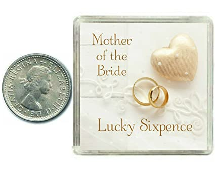 Lucky Wedding Sixpence Coin for Mother of The Bride & Traditional Thank You Gift idea.