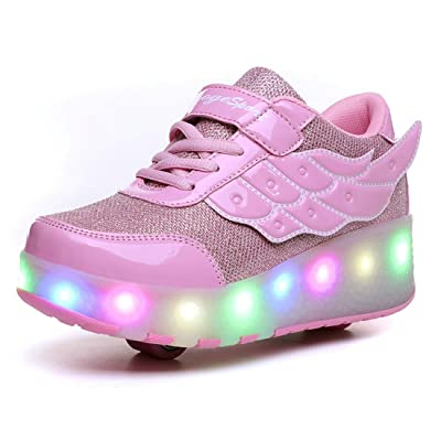 ZCOINS Boy Girl Roller Shoes with Light Flashing Wheels Skate Sneaker for Kids Teens: Shoes [3Bkhe0905280]