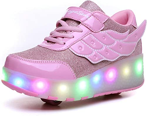 ZCOINS Boy Girl Roller Shoes with Light