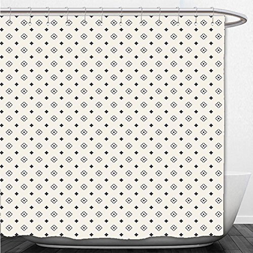 Mickey Icon Wallpaper (Beshowere Shower Curtain Geometric Old Fashioned Wallpaper Design with Floral Like Geometrical Icons Art Print Black and White)