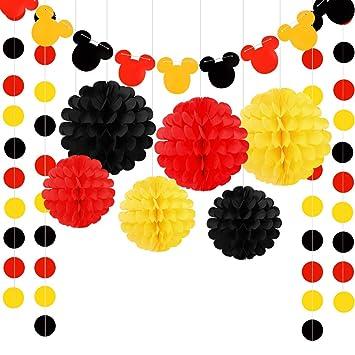Mickey Mouse Guirnalda de cumpleaños, color amarillo, negro ...