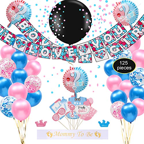 Gender Reveal Party Supplies & Decorations Kit | Pink & Blue Announcement Banner, Balloons, Confetti, Stickers, Props, Mommy to Be Sash, Balloon Pumps & More | Premium Girl or Boy ()