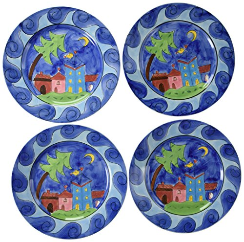Hues & Brews 4 Piece Bird Village Plate Set, Yellow