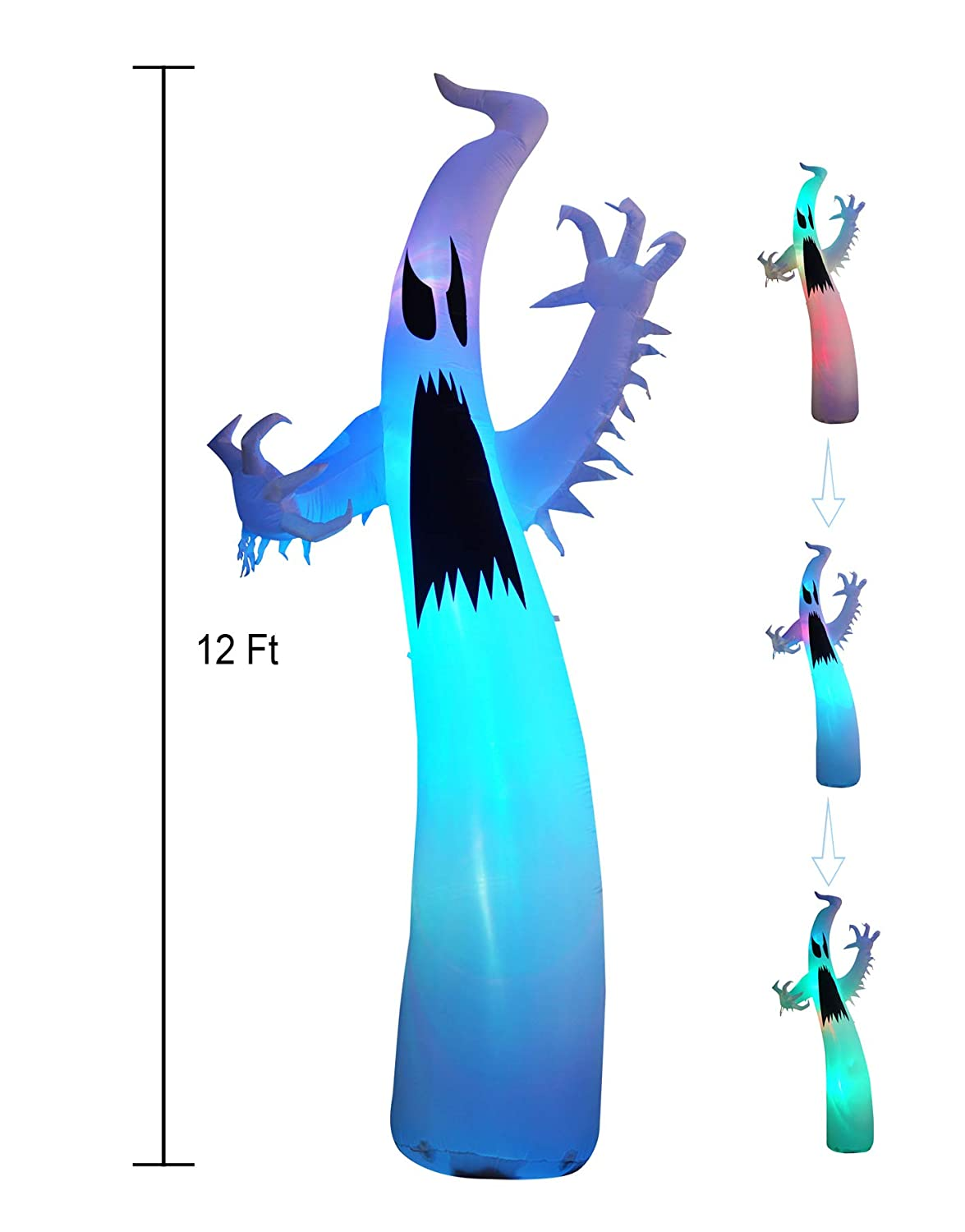 JF Deco 12 Ft Inflatable Halloween Terrible Ghost Lanterns Indoor and Outdoor Decoration