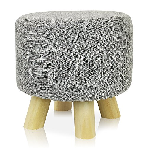 Stool Mini Round - DL furniture - Round Ottoman Foot Stool, 4 leg Stands, Round Shape | Linen Fabric, Gray Cover