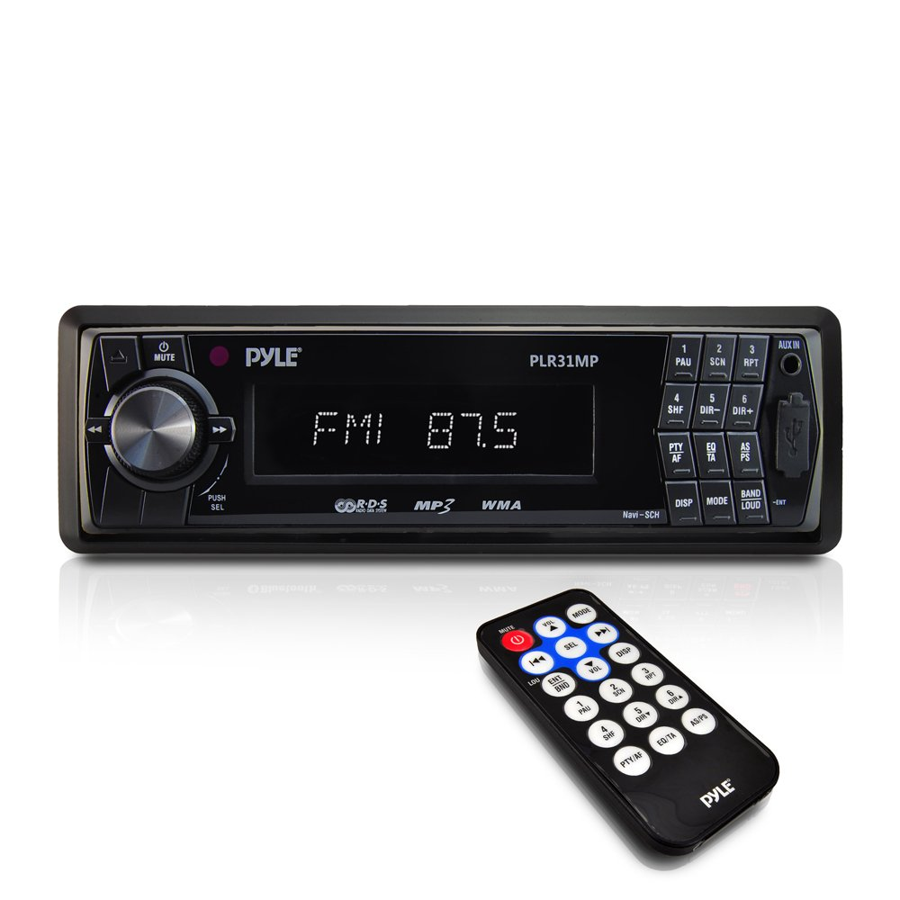Car Stereo Head Unit Receiver - Premium In Dash AM/FM-MPX Tuning Media Radio with MP3 Playback, LCD Display & Preset Station Memory - USB, SD & Aux Inputs - Remote Control Included - Pyle PLR31MP
