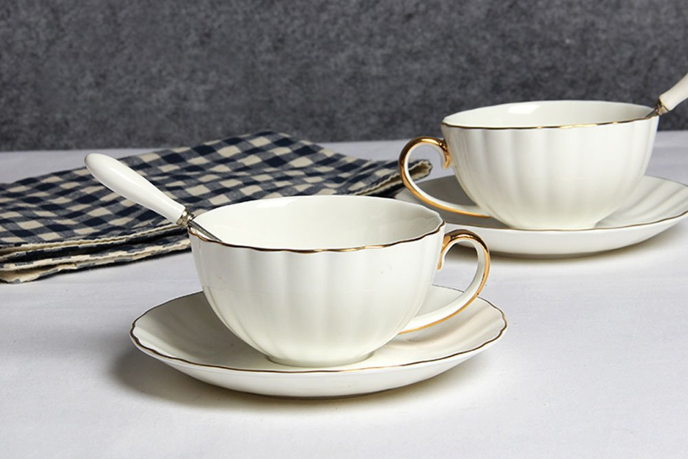 Lautechco Simple Style Teacup and Saucer Set, Bone China, Coffee Cups Set, Floral Tea Cups 230ml/7.7FL.OZ White
