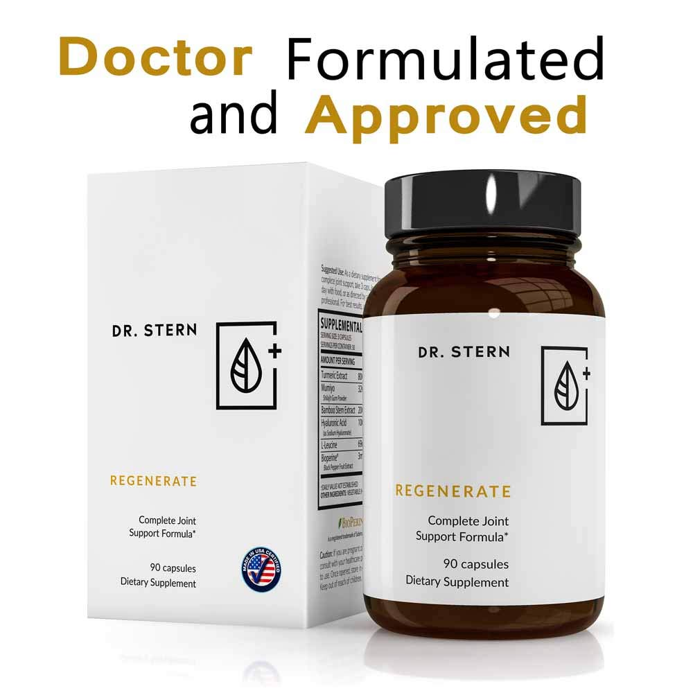 Regenerate Joint Supplement - Dr. Ian Stern Formulated - for Joint Pain & Inflammation Relief - W/Organic Turmeric Extract, Shilajit, More - 90 Capsules