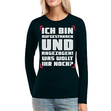 Morning Shirt Aufgestanden und Angezogen Frauen Langarm-T-Shirt Small  Schwarz