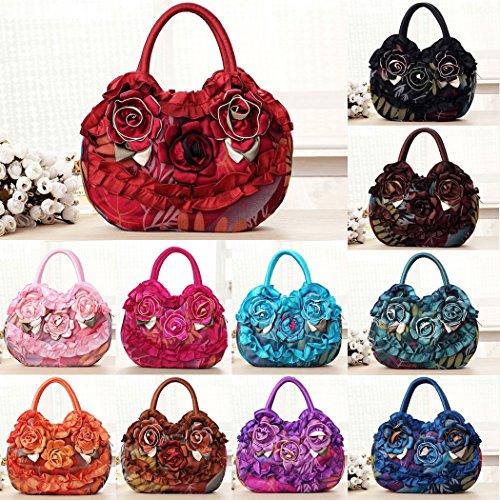 Top Bageek Purses Embroidery Spring Handle Bag Bag Women Shopping Nylon Handbags Tote for Hobo Bag Flower qz14aptEw