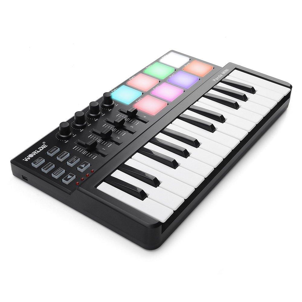 Worlde Panda MINI Portable 25 Keys USB Keyboard MIDI Controller with Colorful Drum Pad by Vangoa