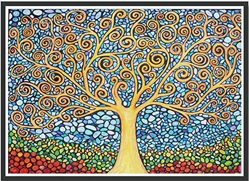 Ant-Tree 14.96x11.81 Abstract Tree 5D DIY Diamond Painting Kit with Color Box Package Full Square Rhinestone Embroidery Cross Stitch Arts Craft for Home Wall Decoration