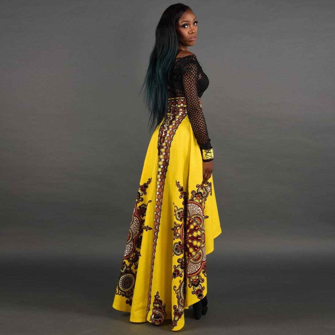 fa9baad53 Amazon.com : Women Dress, Joint 2018 New African Women Printed Summer Boho  Long Dress Beach Evening Party Maxi Skirt (X-Large, Yellow) : Sports &  Outdoors