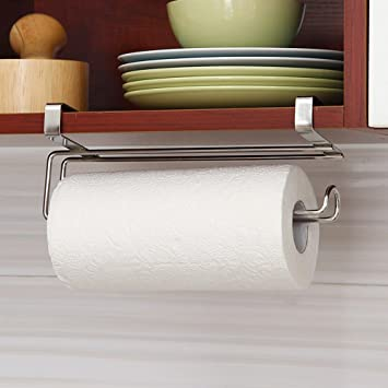 Youzpin 1Pc Simple Stainless Steel Under Cabinet Paper Towel Holder Roll  Reserve Paper Over Door Shelf
