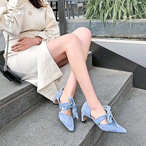 tamaño Sandals High Sweet Wild Leather AnchengKAO Naranja Female Color 36 Azul Heels Bow EU vxaYYnq